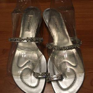 Silver rhinestone low kitten heels